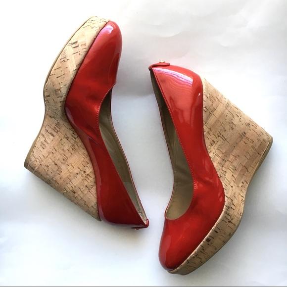 b24a488430 Staurt Weitzman corkswoon red patent wedge shoes. NWT. Stuart Weitzman